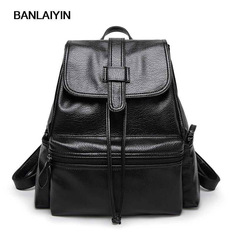 Nice The New Large Capacity Backpack PU Leather Vintage College Shoulder Women Shoulder Bag Students Travel