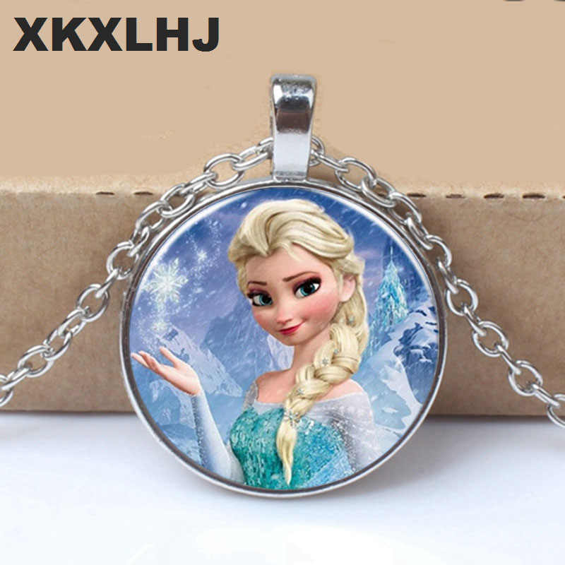 New Ladies The Long Chain Jewelry Necklace Crystal Cabochon Princess Elsa Anna Snow Queen Pendant Necklace For Girls
