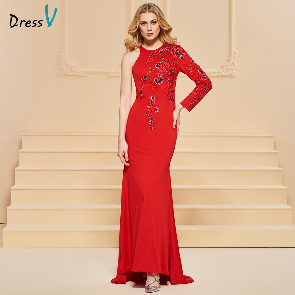 Dressv red evening dress scoop neck elegant sweep train floor-length wedding party formal dress beading sashes evening dresses
