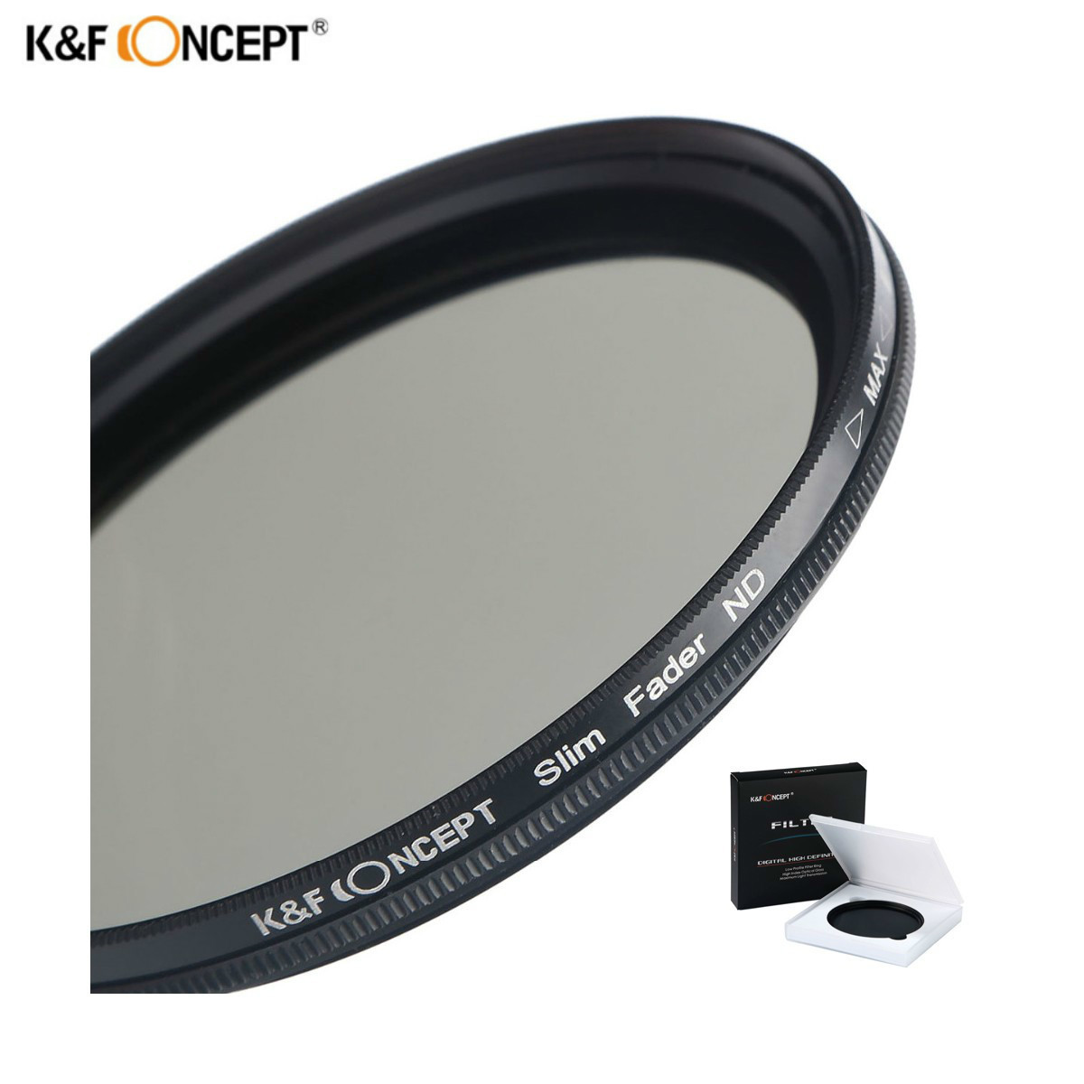 K&F CONCEPT 52mm 55mm 58mm 62mm 67mm 72mm 77mm 82mm Slim Fader Variable ND Lens Filter Adjustable ND2 to ND400 Neutral Density nd2 400 variable nd filter for 62mm lens camera black transparent