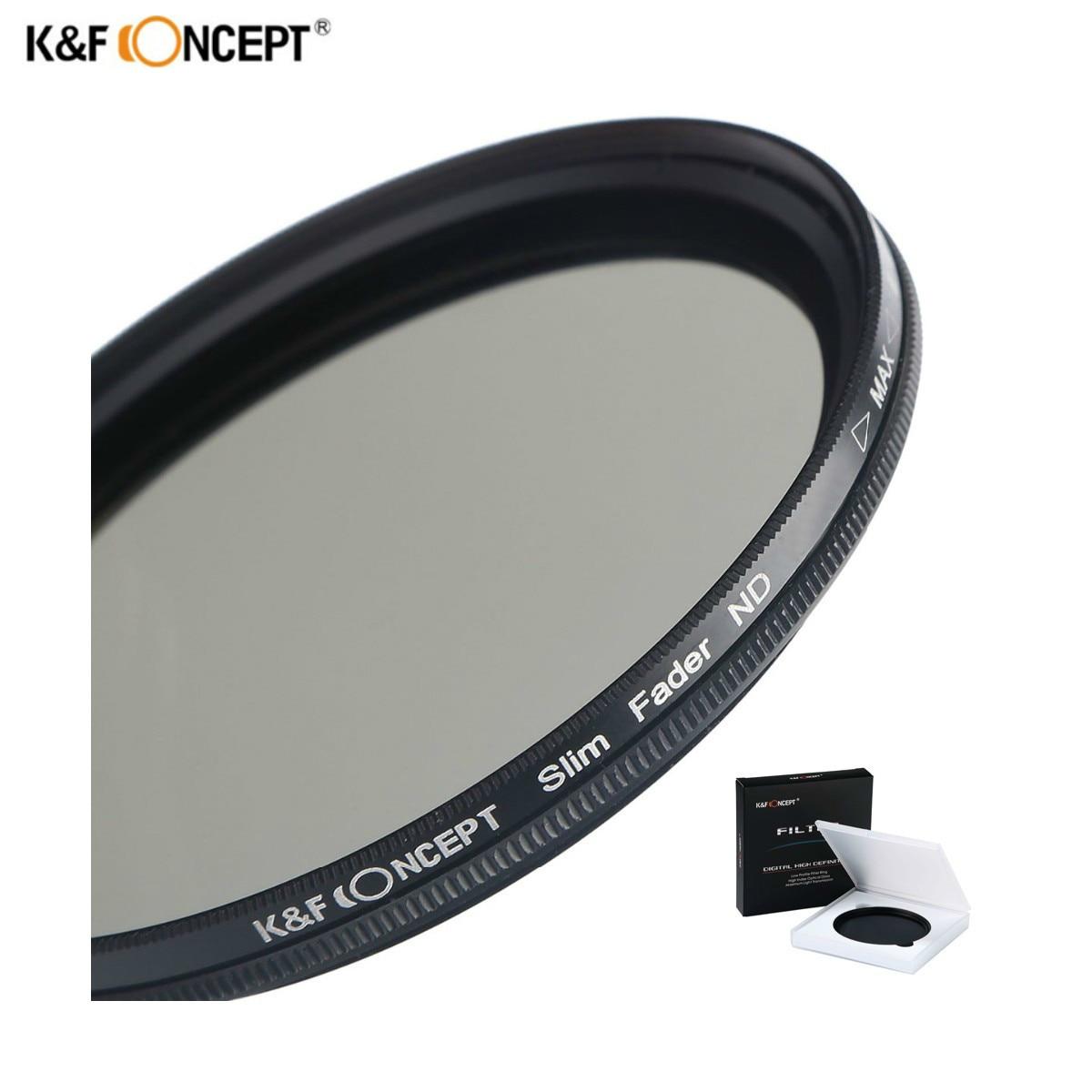 K & F CONCETTO 52mm 55mm 58mm 62mm 67mm 72mm 77mm 82mm sottile Fader Variabile ND Filter Lens ND2 a ND400 Regolabile Neutral Density