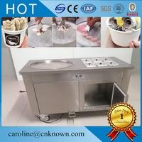 Intelligente temperatuurregeling enkele ronde platte pan roll ijs maken gebakken ijs machine