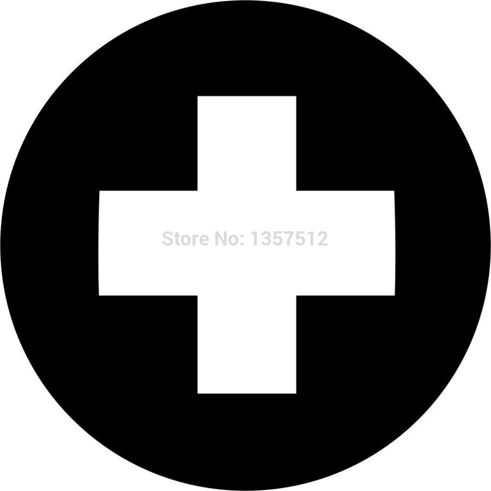 HotMeiNi 12cm Red Cross Symbol car window sticker vinyl decal Motorbike Bumper funny JDM and all the smooth surface Black/Sliver image