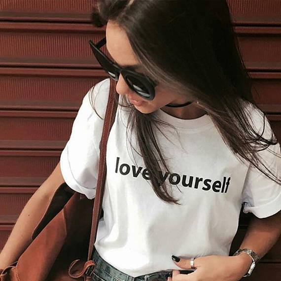 02e3f0e2a love yourself Tumblr T-Shirt Hipster Funny Aesthetic Casual Tee Women Girl  Cute Tops Short Sleeve Outfits Popular shirts clothes