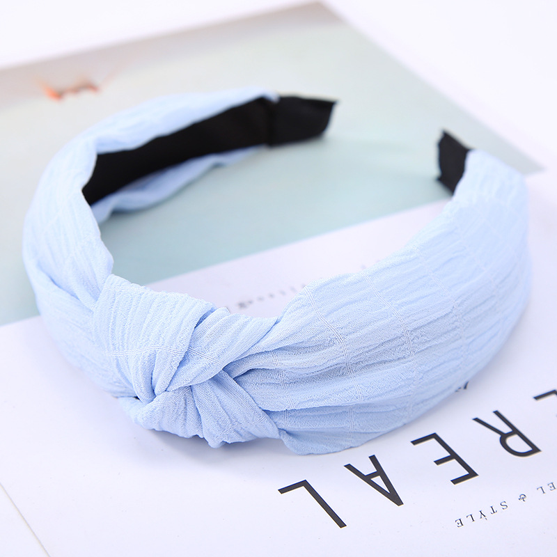 7 Solid Colors Plaid Lace Cloth Yarn Hairbands for Women Headbands Headwear Hair Accessories