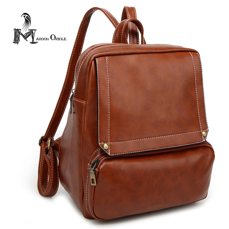 Vintage brown leather backpack leather satchel bag women college backpack travel bag in red brown black