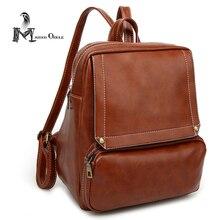 Урожай коричневый кожаный рюкзак кожа сумка женщины колледжа рюкзак сумка в красный/коричневый/черный цвет
