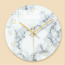 Wall clock Minimalist quartz watch Marble pattern Glass Wall Clocks Home Decoration Living Room Silent 12 inch