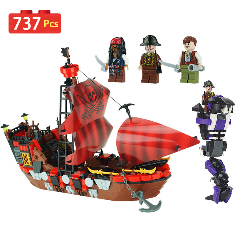 Pirate Ship Series Blocks Compatible LegoINGLY Character Activity Arms War Pirate King Diy Bricks Enlightening Toys For Children red pirate ship blocks compatible legoingly war pirate king character action diy bricks cannon building blocks toys for children
