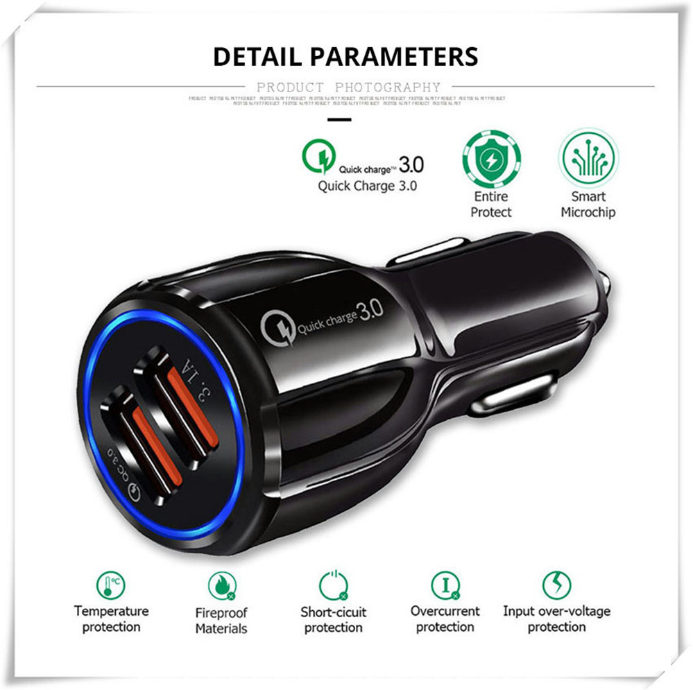 Quick 3.0 Car Charger Socket Adapter Dual USB Port For Fiat Freemont Doblo 695 FCC4 500e Viaggio Strada 500C