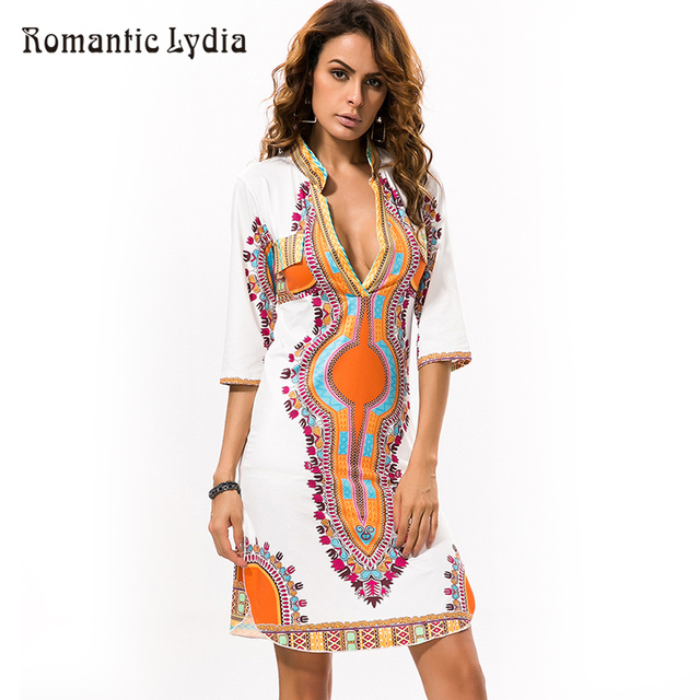 88909287b1f0 Sexy V-Neck Tribal Print Dress Women African Clothing Dashiki Mini Dress  Vintage Print Summer Dress Boho Casual Bodycon Dresses