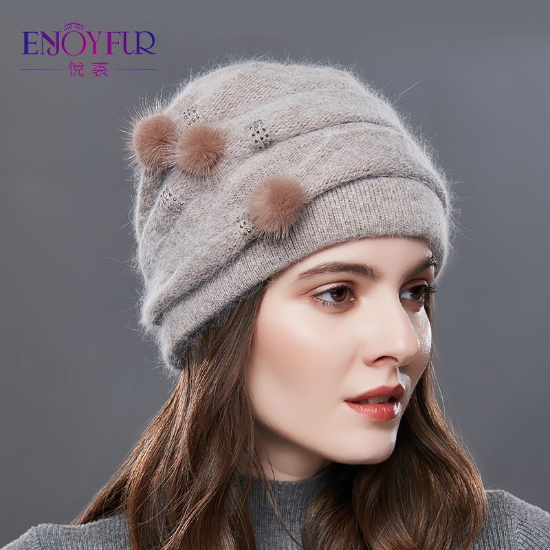 ENJOYFUR Cashmere Pompom Women Winter Hats Caps Stripe Knitted Hat Female Fashion Lady Middle-Aged Cap Rhinestones Thick   Beanie