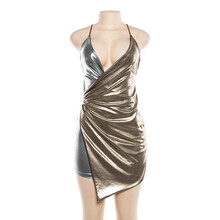 f5e560fc Women Summer Party Dress Sexy Straps Sleeveless Ruched Silver Gold Metallic  High Low Bodycon Wrap Dress