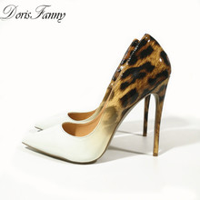 DorisFanny Genuine Patent Leather White Leopard Women wedding shoes ultra thin high heels pumps size 34-45