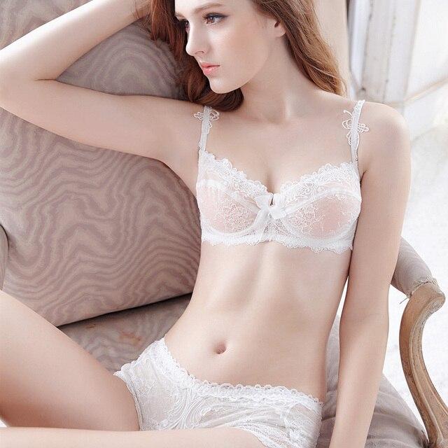 c475fc015f New 2017 Japanese fashion Luxury brand models thin transparent bow Lingerie  Bra Sets sexy embroidery underwear bra sets women