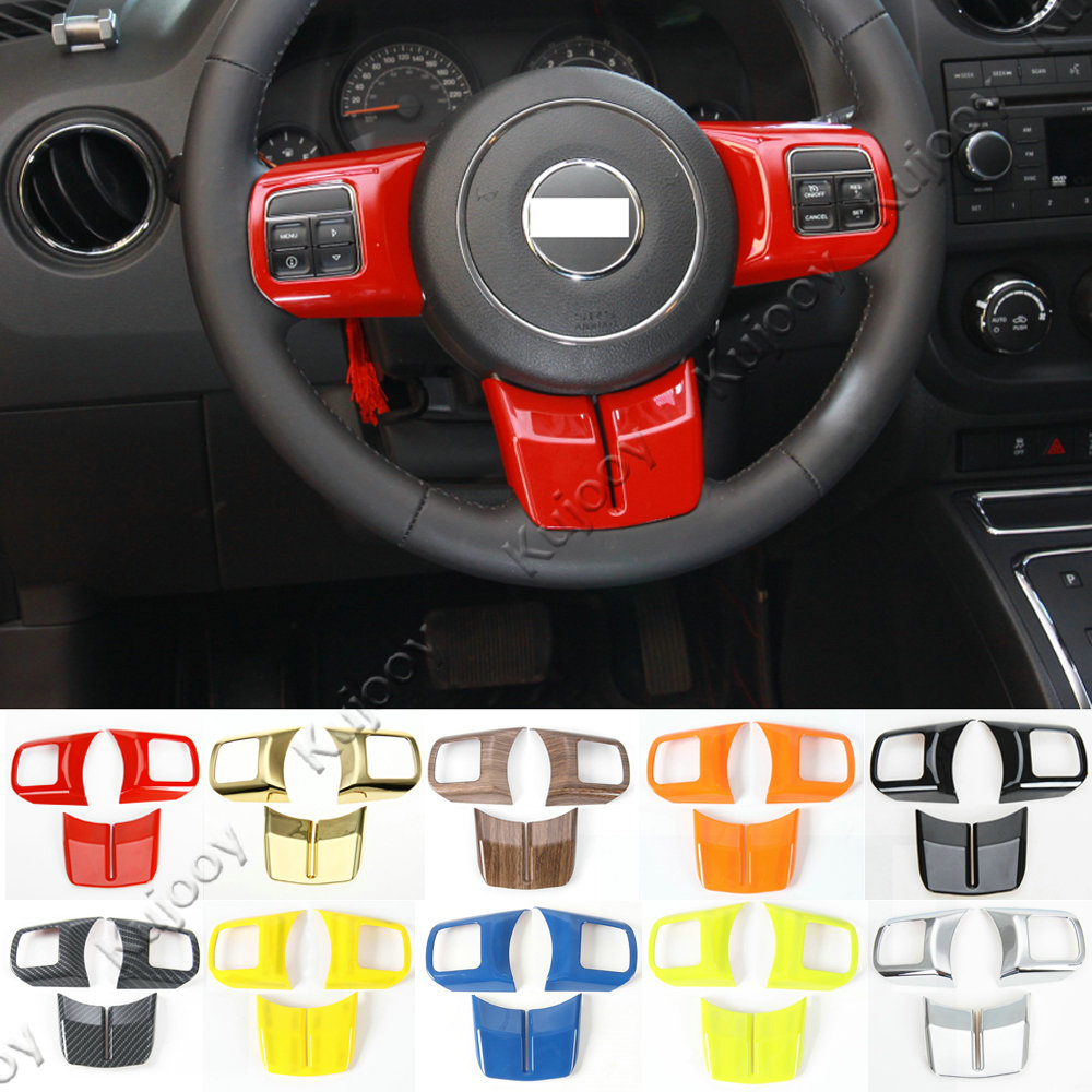 10 Colors ABS Car Steering Wheel Cover Trim Sticker Decor For Jeep Patriot Compass Wrangler 2011-2017 Grand Cherokee 2011-2013 yuzhe auto automobiles leather car seat cover for jeep grand cherokee wrangler patriot compass 2017 car accessories styling