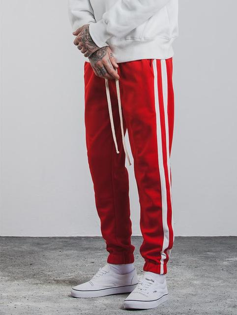 High Street 2018 New Side Stripe Pants Fashion Hip Hop Elastic Waist