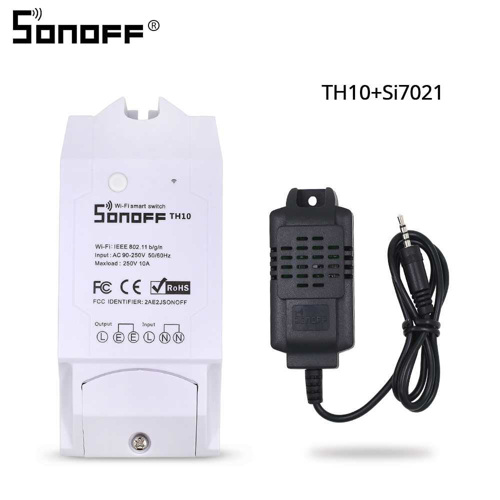 SONOFF TH10/TH16 SI7021 Humidity Sensor Switch Wireless Probe Temperature Monitor Monitoring Wifi Smart Home Remote Controller(China)