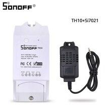 SONOFF TH10 TH16 SI7021 interruptor de Sensor de humedad sonda inalámbrica Monitor de temperatura monitoreo Wifi Smart Home control remoto