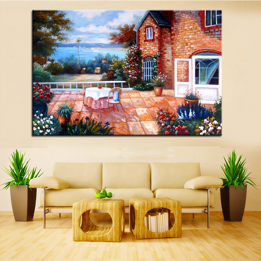 Extra large wall painting of backyard garden home office decoration paint canvas prints no - Home decoration wholesale paint ...