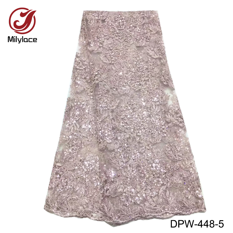 8Available colors french lace fabric 5 yards per lot bling sequins party dress mesh lace sexy