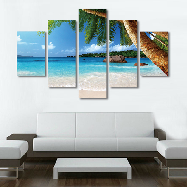 Home Decor Sea Beach Canvas Painting Set Summer Seascape Palm Tree Wall Art  Cuadros Decoration Pictures Part 97