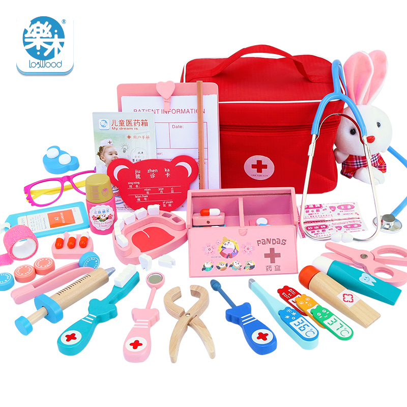 Children Wooden Cosplay Doctor Game Toy Role Play Classic Toys Simulation Hospital Pretend Doctor accessories Tools Set Gift image