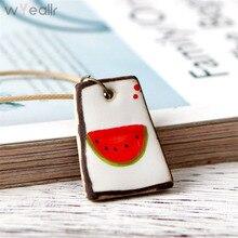 Здесь можно купить  WYEAIIR  Handmade Jewelry Cute Style Lovely Watermelon Ceramic Necklaces & Pendants Statement Necklace WN48