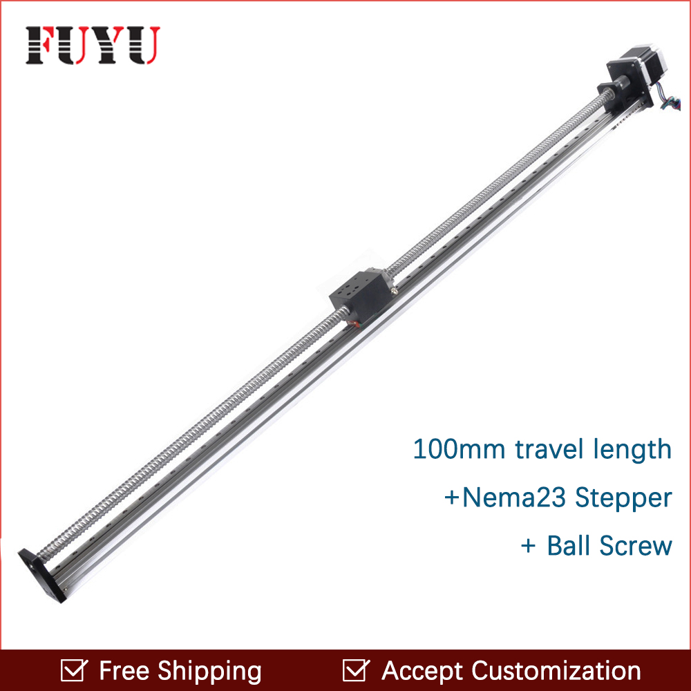 Free shipping 100mm~1000mm Travel Length Cnc Linear Guide Rail Stage Actuator Ball Screw Motorized Stepper Motor Robot Arm Kits free shipping 900mm travel aluminium motorized linear slide for cnc machine