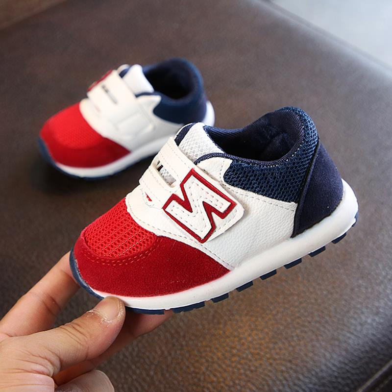 Autumn 2019 Boys Girls Lace-Up Fashion Sneakers Baby/Toddler/Little/Big Kid Soft Leather Trainers Children School Sport Shoes