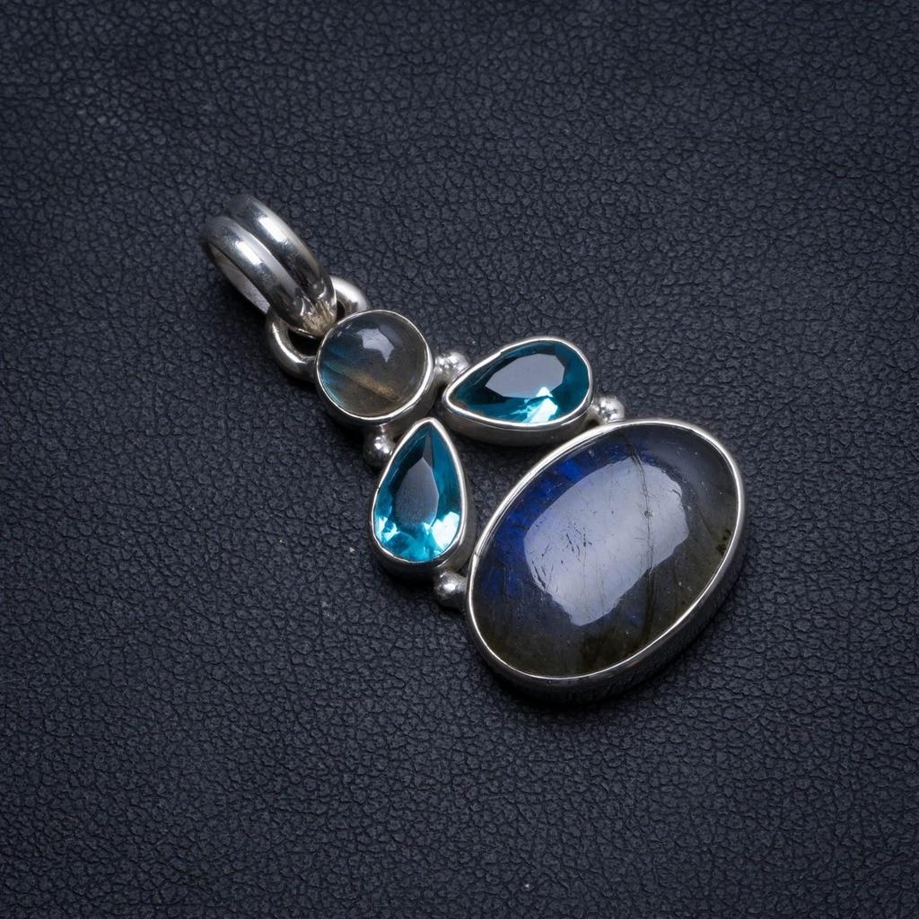 "Pendentif en argent Sterling 925 Labradorite et topaze bleue naturelle en argent 1.5 ""U0718"