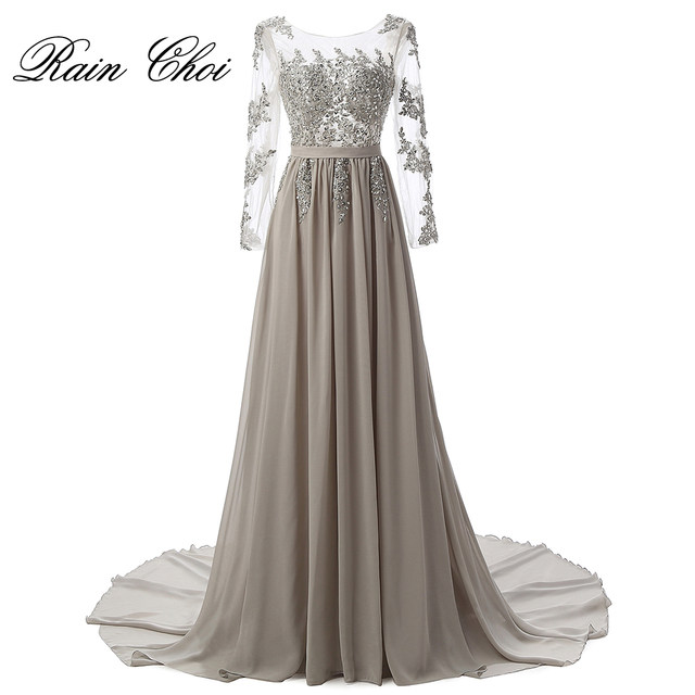 Online Shop Real Photo Long Sleeves Formal Evening Gown Gray Elegant ...