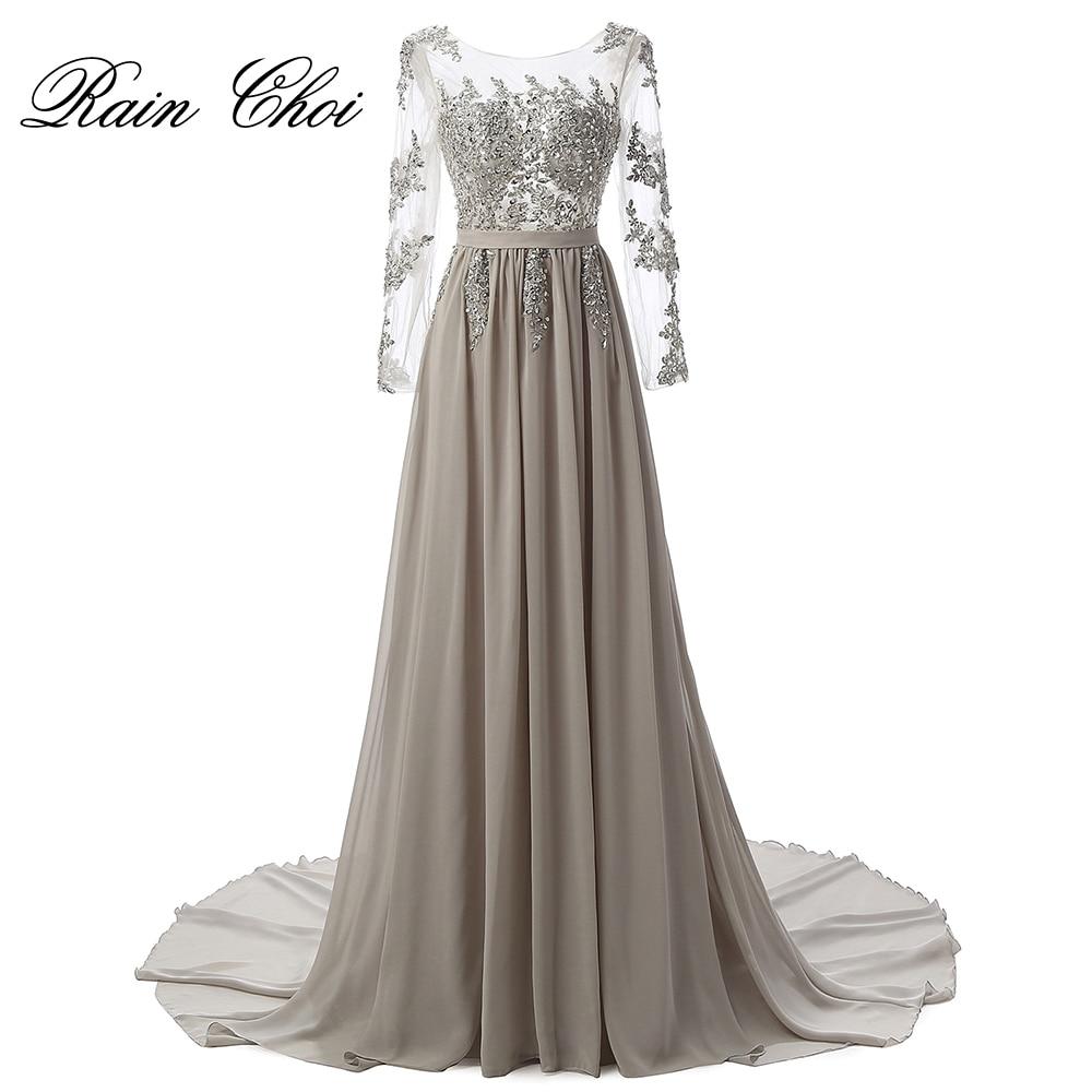 Echte foto lange mouwen formele avondjurk grijze elegante lange prom - Jurken voor bijzondere gelegenheden - Foto 1
