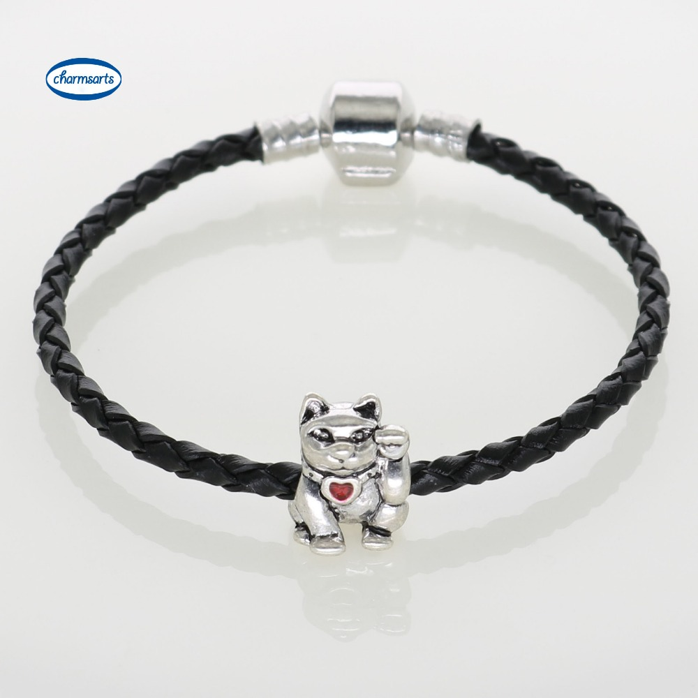 Black Leather Chain & Link Bracelets With Lucky Cat Charm Bracelets For Men  Diy Jewelry 5