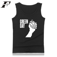 LUCKYFRIDAYF Green Day Bodybuilding Tank Top Men Clothing American Idiot Summer Soft Style Sleeveless Vest Black