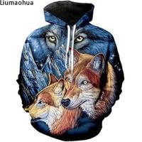 Hip Hop 3D printing animal three wolf men's hoodie sweatshirt winter warm jacket loose casual sportswear