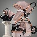 Carrinho de bebê choque de alta paisagem pode sentar ou deitar ouro baralho crianças bb carrinho de bebê entrega gratuita