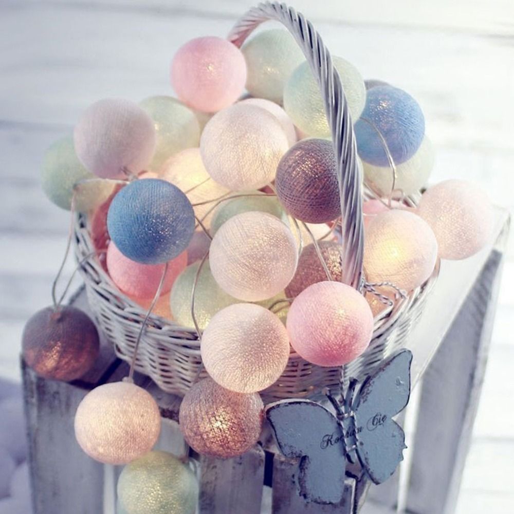 New Garland Cotton Balls String Lights Battery DIA 6CM 10 Cotton Ball Light Chain Fairy LED Lights Birthday Party Gifts Dropship