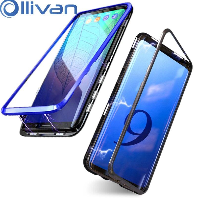 Adsorbimento magnetico di Caso Per Samsung galaxy Note 9 8 S8 S9 Più Il Magnete Del Respingente Del Metallo di Vetro Della Copertura Posteriore Per Samsung s9 Caso di Shock
