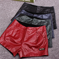 Autumn Winter Fashion Mens Red Green Low Waisted Faux PU Leather Shorts , Fall Casual Slim Female Shorts For Woman