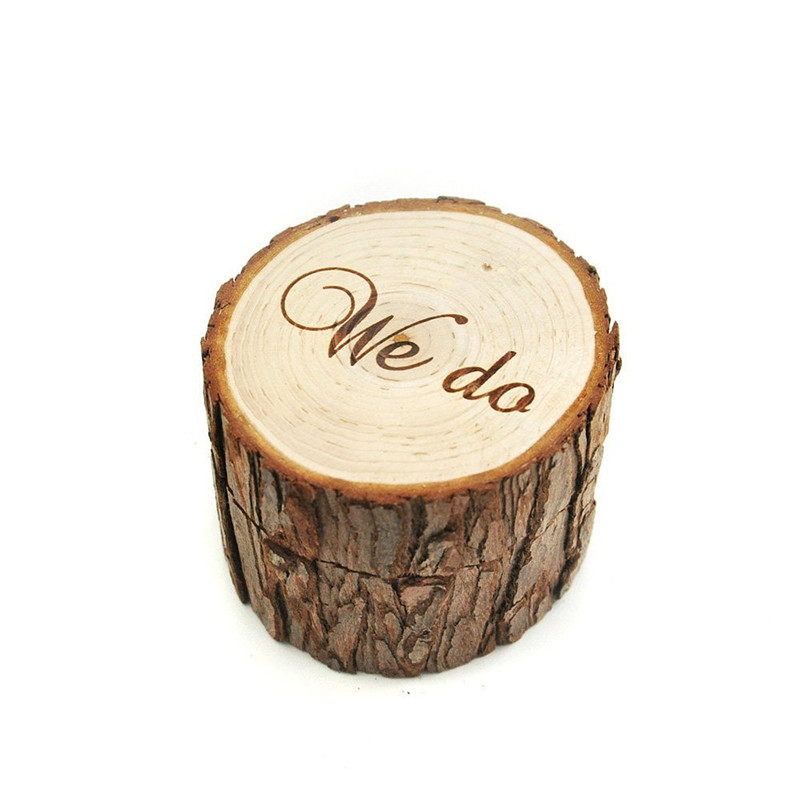 Printed We do Wooden Simulation Wedding Ring Holder Box Romantic Valentines Day Chic Rustic Bearer Storage Boxes P17
