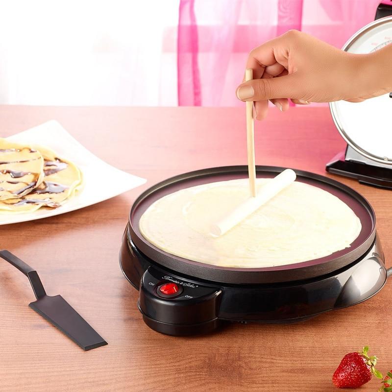 220V Non-stick Electric Crepe Pancake Maker Machine Multifunctional Pancake Baking Pan Household Pizza Maker EU/AU/UK/US Plug mini household automatic donut baking machine electric non stick cake doughnut makers breakfast making pancake machine