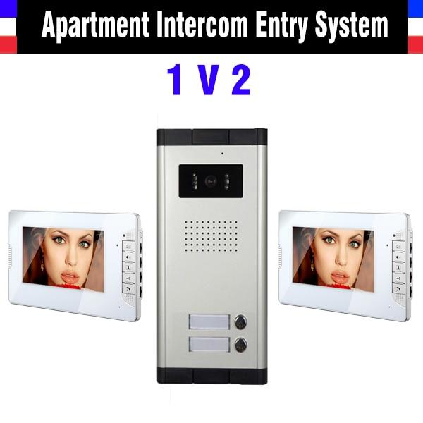 2 units apartment intercom system 7 inch screen video