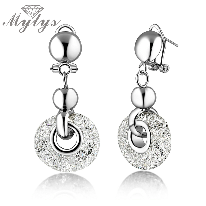 Mytys White Gold Mesh Dangles Earrings Zircons Earring GP BNIB GF E401 White Gold Color