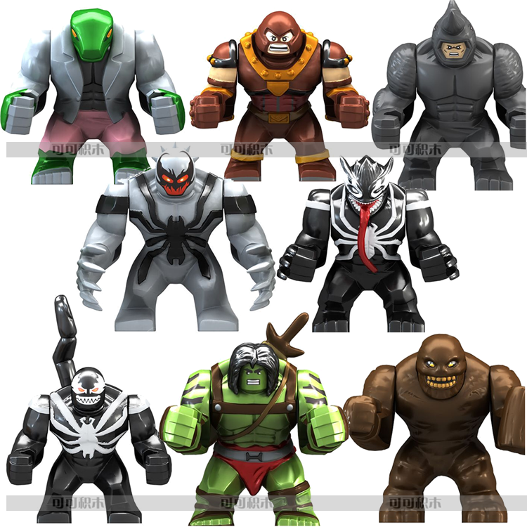8 pz 7 cm Super Villain Figlio di Hulk Lucertola Clayface Anti-Venom Wolverine Rhino Juggernaut Block Figura Compatibile con Lego