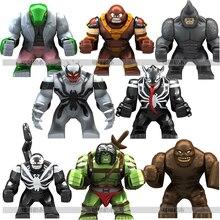 8 stücke 7cm Super Bösewicht Sohn von Hulk Eidechse Clayface Anti Venom Wolverine Rhino Juggernaut Block Abbildung