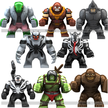 8pcs 7cm Super Villain Son of Hulk Lizard Clayface Anti Venom Wolverine Rhino Juggernaut Block Figure