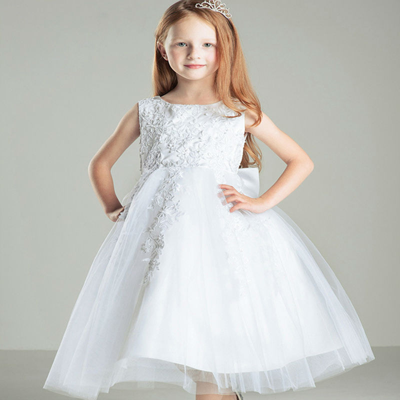 2017 New Flower Girl Dresses Real Party Mother Daughter Dresses Lace Girl Dresses A-line Puffy Dresses For Kids Prom With Bow new red champagne flower girl dresses long sleeves lace satin mother daughter dresses for children christmas party prom gown