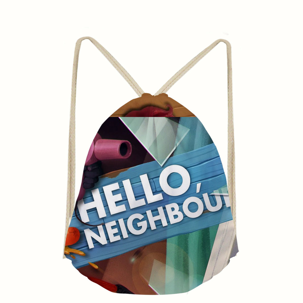 03629273f9 3D Hello Neighbor Game Print Drawstring Bags for Men Women Gym Sack Bag  Large String travel Backpack Junior Printing School Bag -in Drawstring Bags  from ...