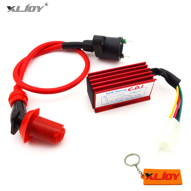 XLJOY Red 5 Pin Racing CDI + GY6 Racing Ignition Coil For Honda XR CRF 50cc 110cc 125cc Engine Dirt Pit Bike